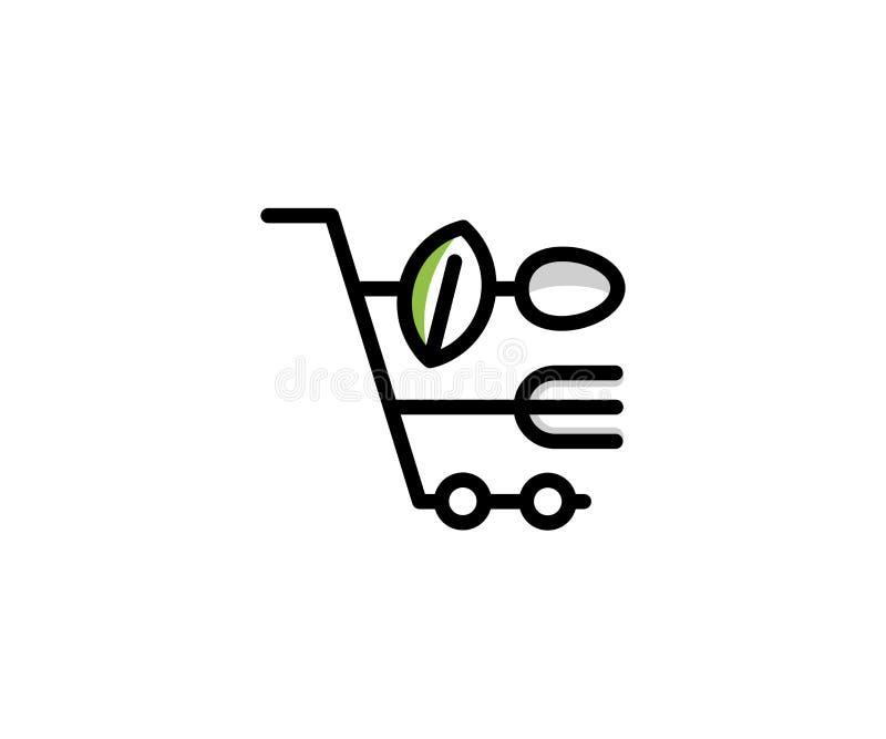 Shoppingvagn och gaffel, sked, bladlogomall Online-shoppingvektordesign royaltyfri illustrationer