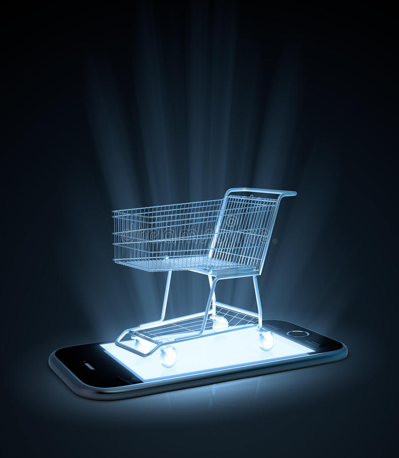 Shoppingvagn på en smart telefon royaltyfri illustrationer