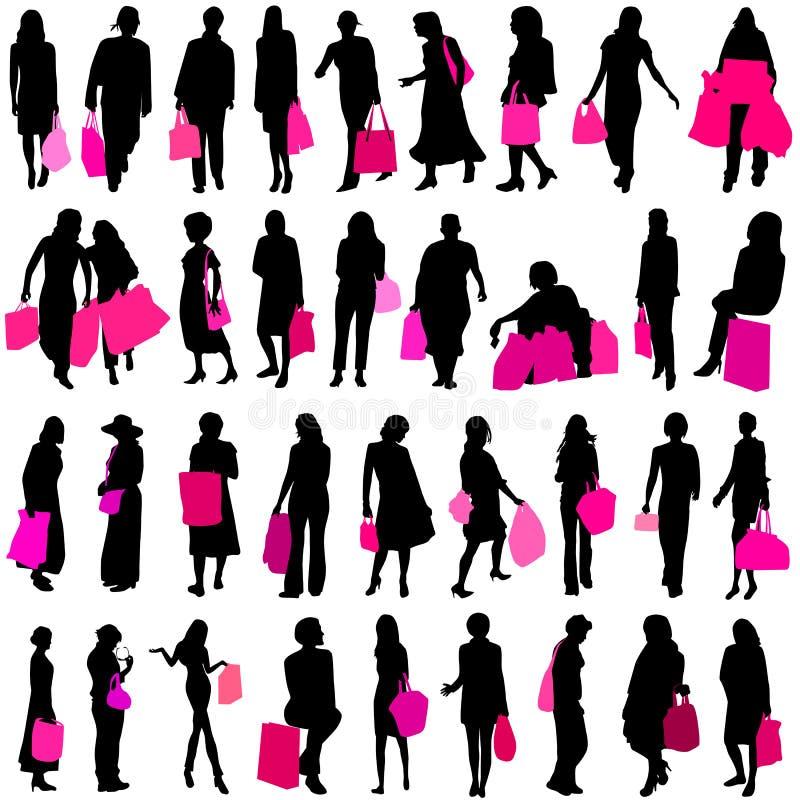 shoppingvektorkvinnor stock illustrationer