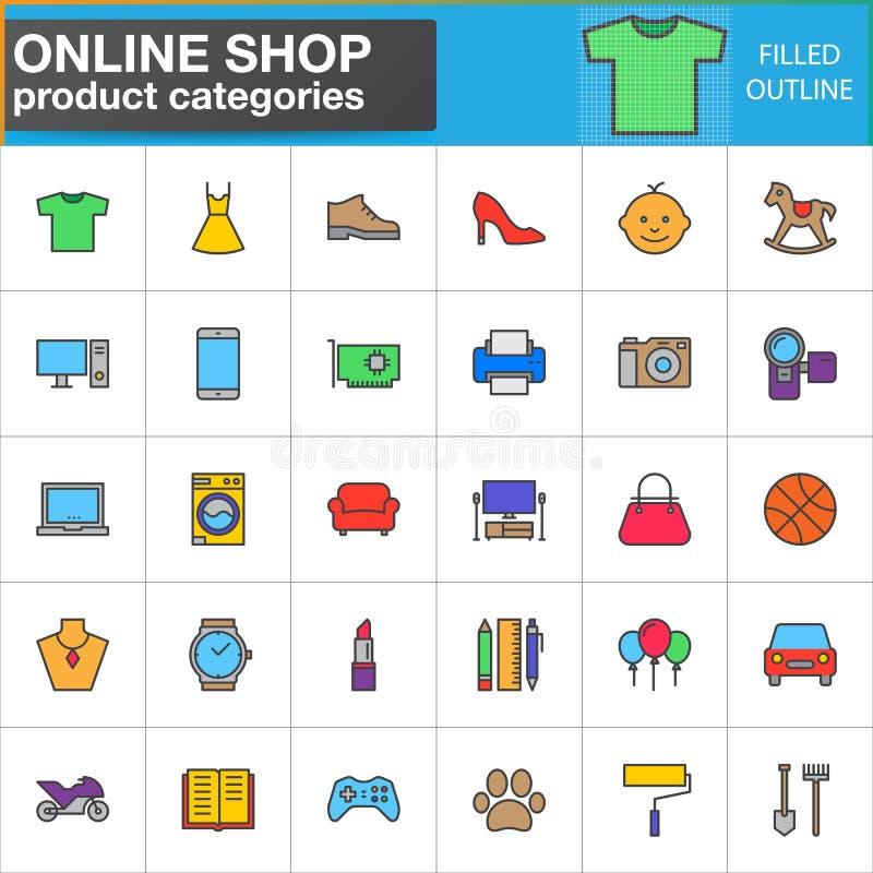 Shopproduktkategorienlinie Ikonen stellte, gefüllte Entwurfsvektor-Symbolsammlung, linearer Artpiktogrammsatz ein Zeichen, Logo i stock abbildung