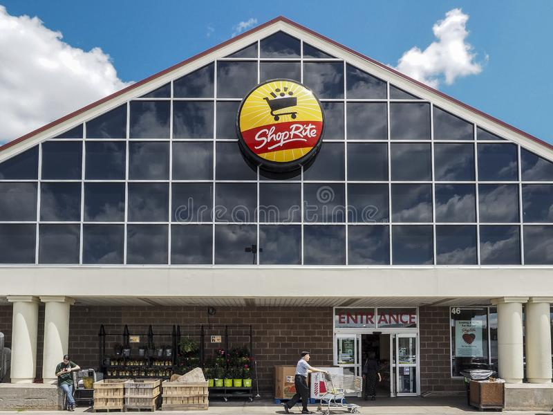 ShopRite Entrance. Monticello, NY, USA - July 14, 2019: Entrance to the store. ShopRite is the supermarket and  the largest retailer-owned cooperative in the stock photo