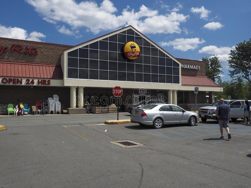 ShopRite Entrance. Monticello, NY, USA - July 14, 2019: Entrance to the store. ShopRite is the supermarket and  the largest retailer-owned cooperative in the stock photography