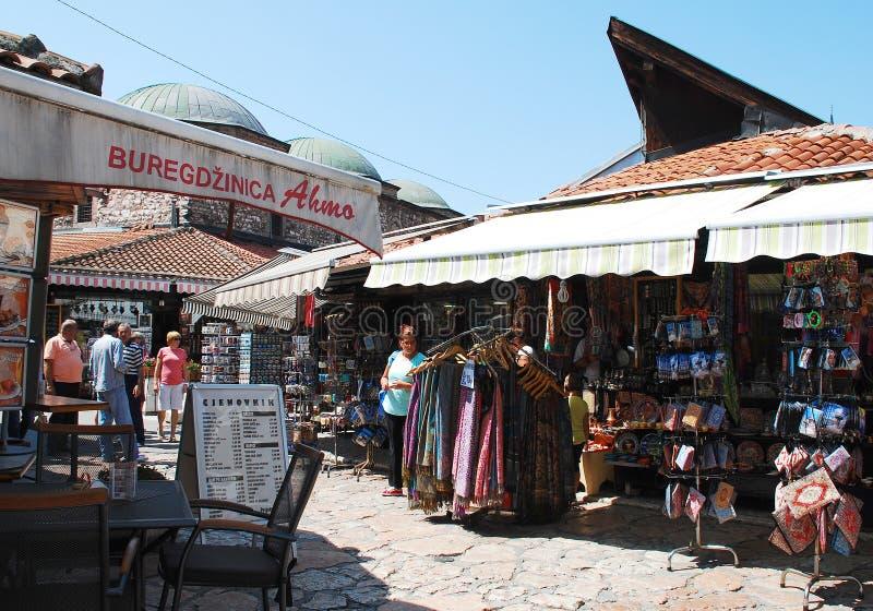 Shops in Bascarsija, Sarajevo lizenzfreies stockbild