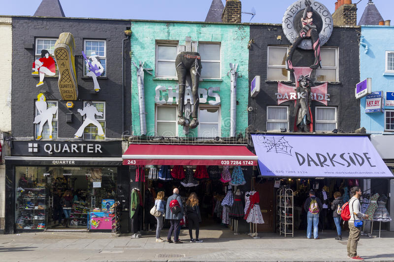 Shops on Camden Road, London. stock images
