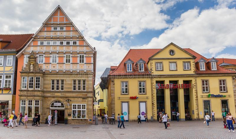 Shops at the central market square of Hameln. Germany stock images