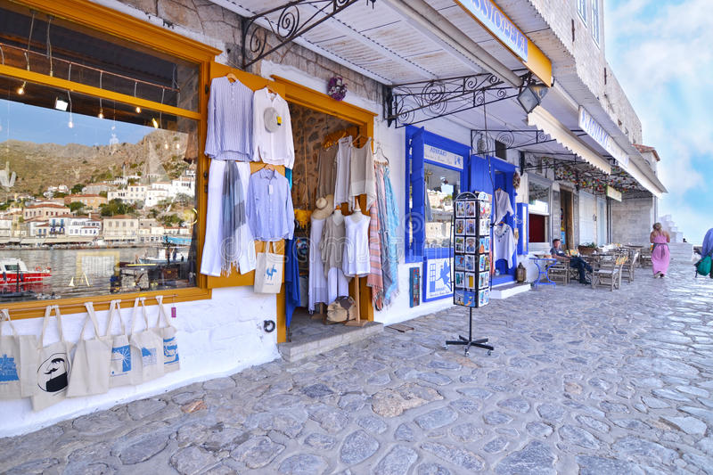Shops with clothes and souvenirs at Hydra island Saronic Gulf Greece stock photography