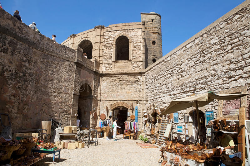Shops at the Essaouira. Morocco: shops among the city walls of the Essaouira fortified city. Essaouira is a city in the western Moroccan economic region of royalty free stock photography
