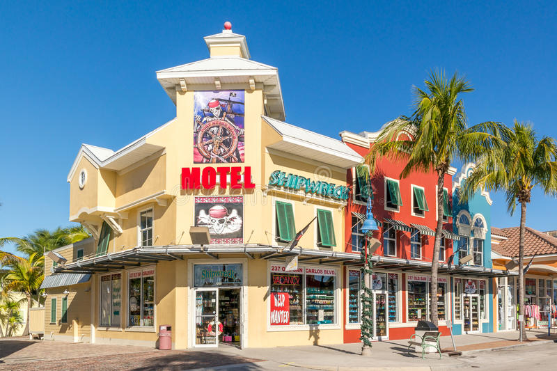 Shops in Fort Myers Beach, Florida, USA. Shops in Old San Carlos Boulevard in Fort Myers Beach on Estero Island at the west coast of Florida, USA stock image