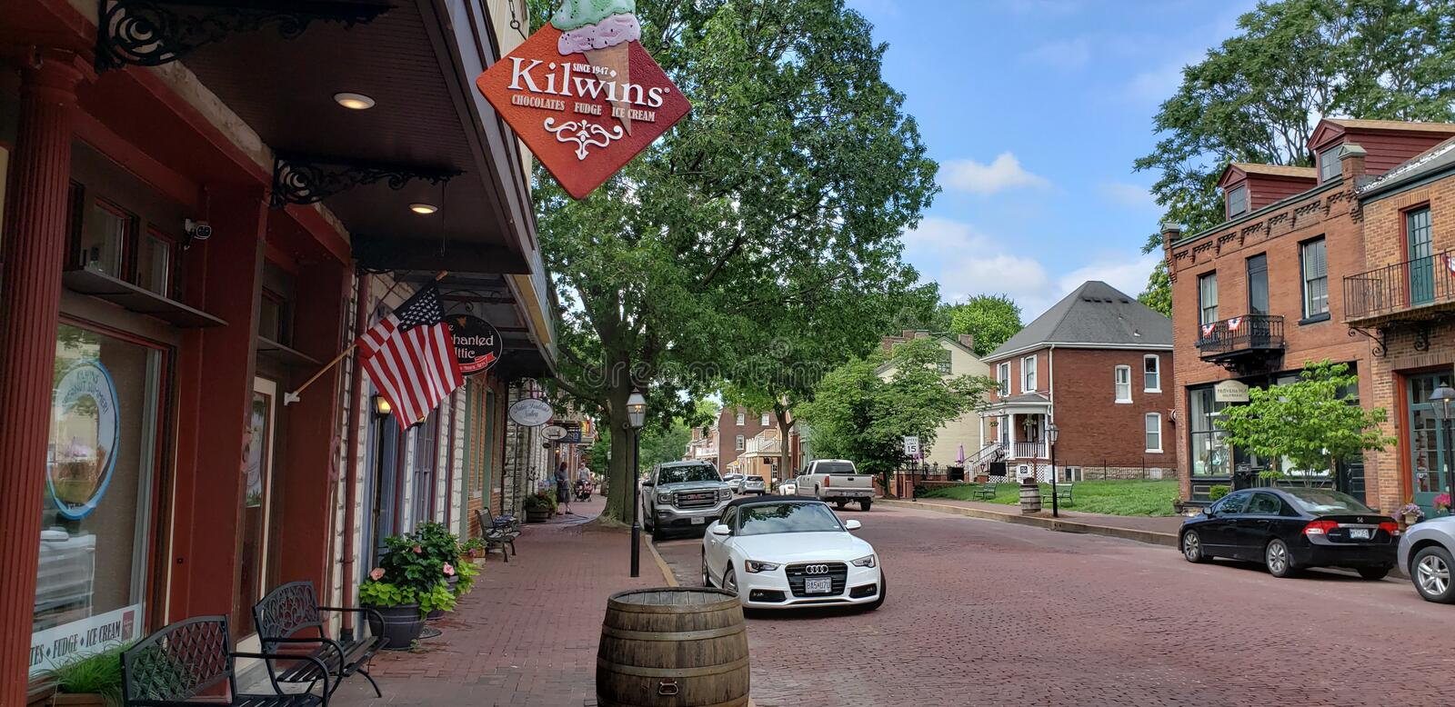 Historic Downtown St. Charles. Shops in Historic Downtown St. Charles. Missouri royalty free stock photography