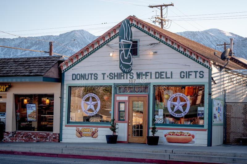 Shops in the historic village of Lone Pine - LONE PINE CA, USA - MARCH 29, 2019. Shops in the historic village of Lone Pine - LONE PINE CA, UNITED STATES OF royalty free stock photos
