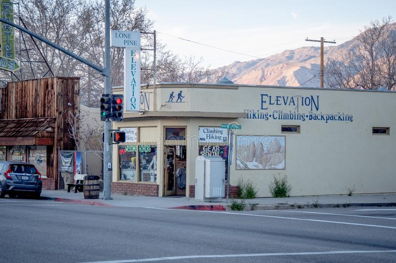 Shops in the historic village of Lone Pine - LONE PINE CA, USA - MARCH 29, 2019. Shops in the historic village of Lone Pine - LONE PINE CA, UNITED STATES OF stock image