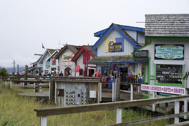 Shops on the Homer Spit Alaska. Boardwalk with shops for tourist on the Homer Spit stock photography