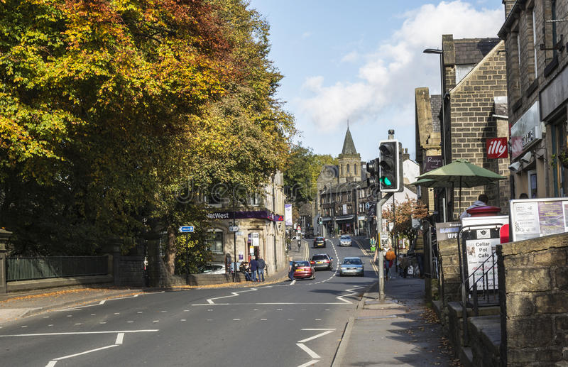 Shops beside main road through Uppermill stock photography