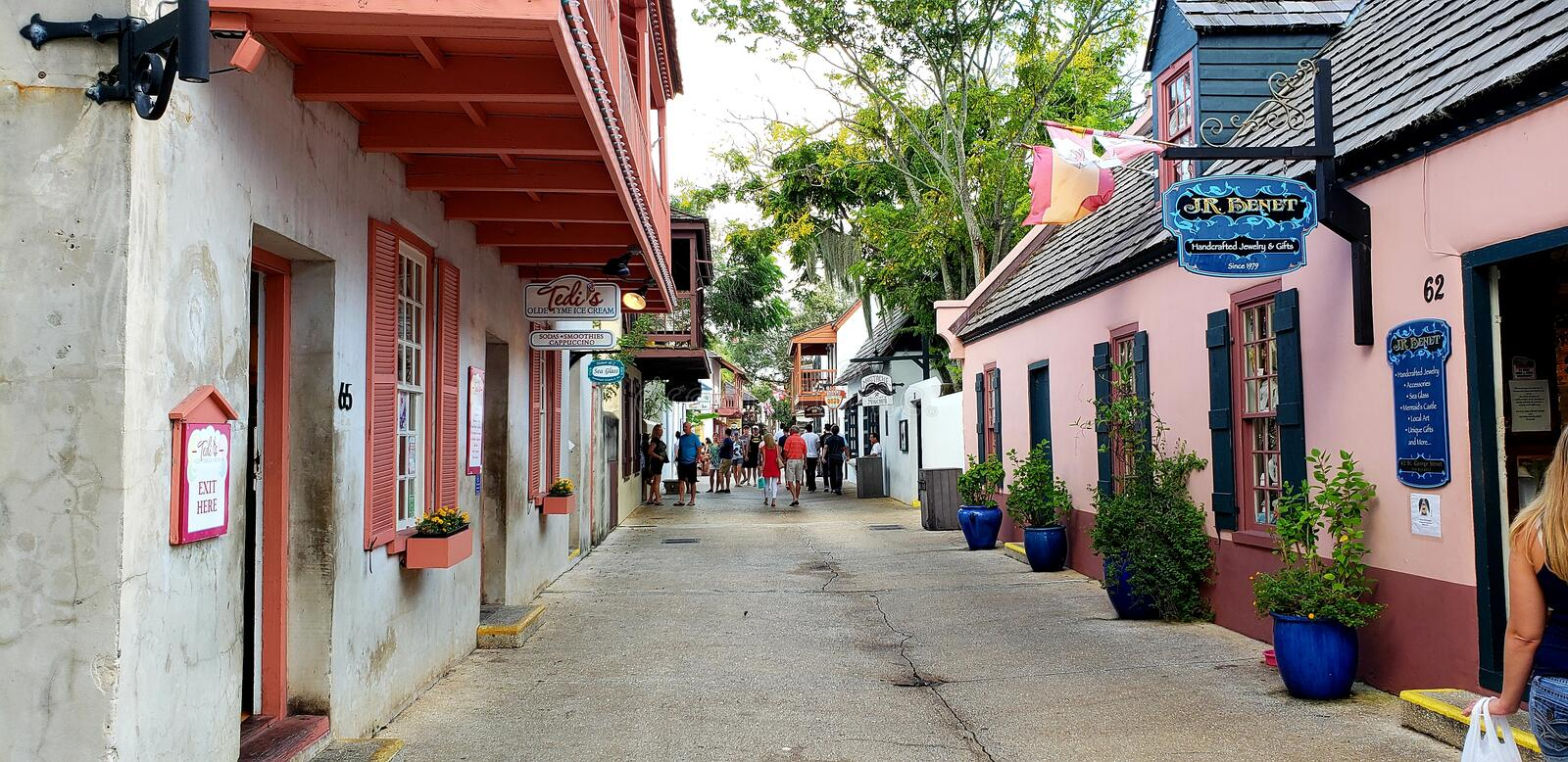 Historic Downtown St. Augustine. Shops, restaurants, and lodging along the quaint streets of St. Augustine stock image