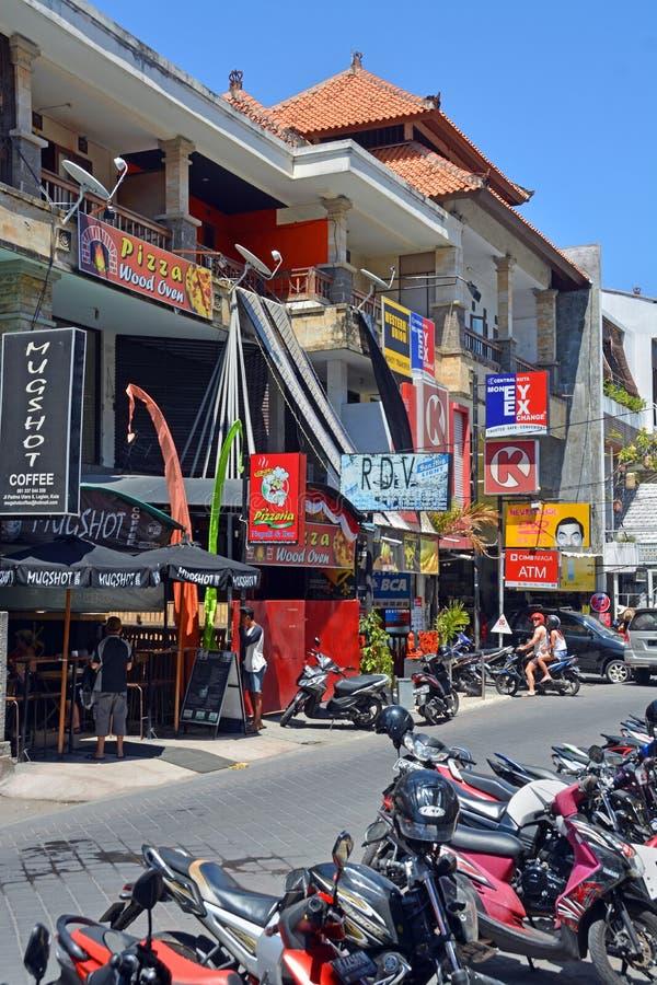 Shops & Restaurants at Seminyak, Bali stock photos