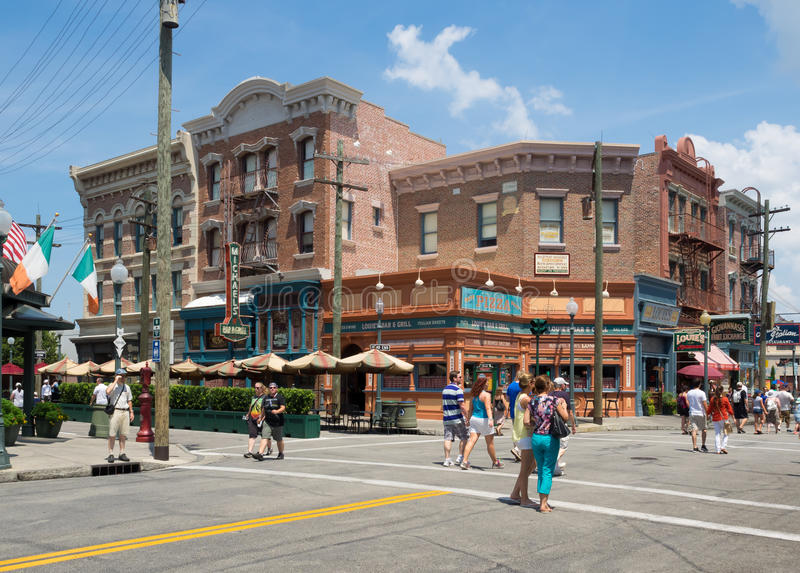 Shops and restaurants at Universal Studios Florida. ORLANDO,USA - AUGUST 23, 2014 : Shops and restaurants resembling vintage architecture at Universal Studios royalty free stock photos