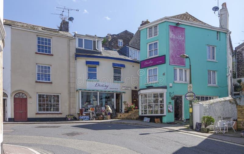 Shops and steps Brixham Torbay Devon Endland UK. Sunny day Brixham Torbay (English Riviera) Devon Endland UK shops and steps stock photo