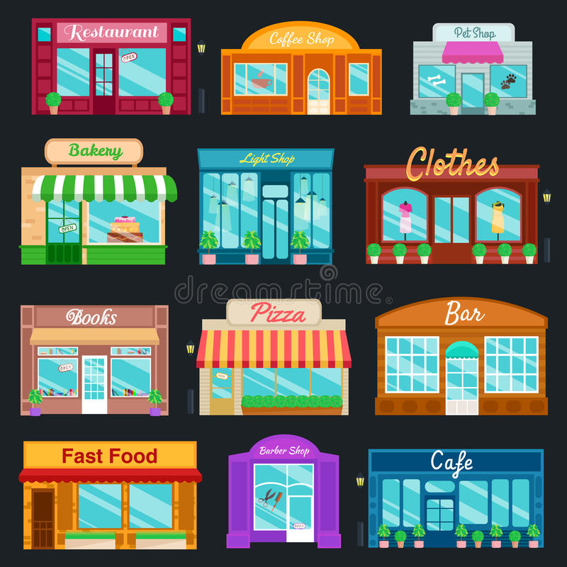 Shops and stores front icons set flat style. Vector illustration vector illustration