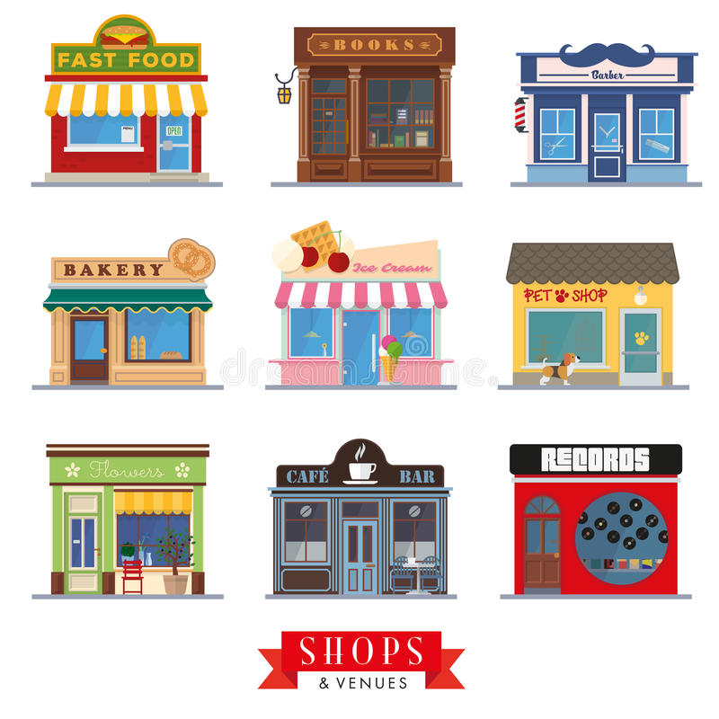 Shops and venues flat design store fronts. Set of 9 flat design shops and venues vector icons vector illustration