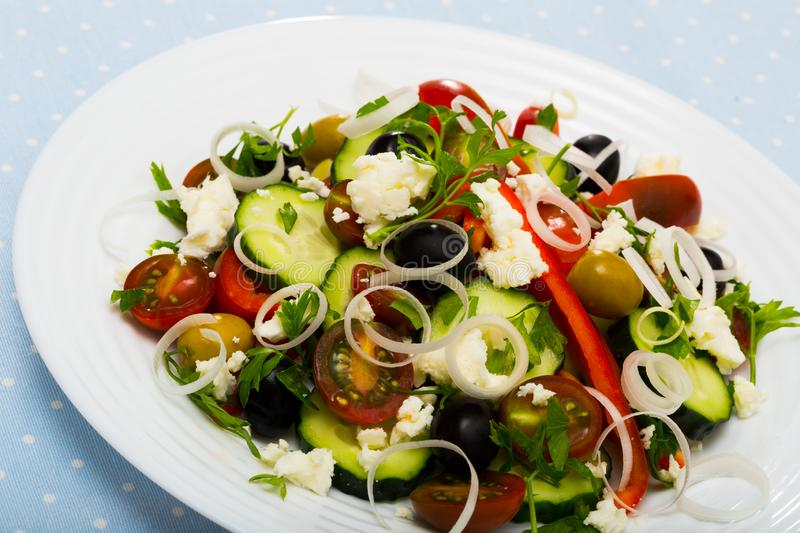 Shopska salad - dish of Balkan cuisine royalty free stock photography
