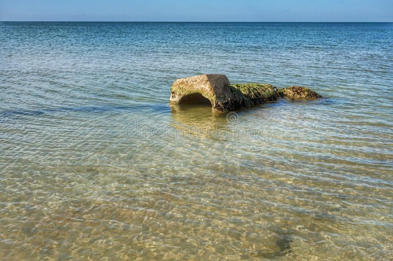 Shore of the Azov Sea in the morning sun. Clear day stock photo