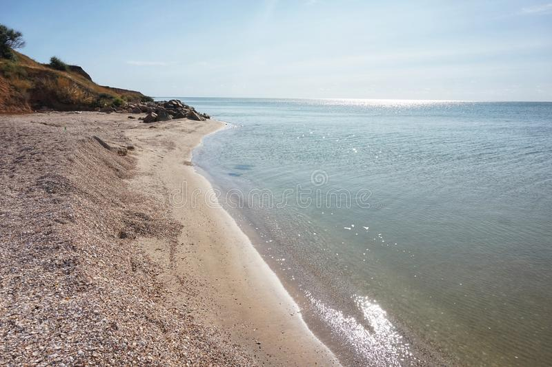 Shore of the Azov Sea in the morning sun. Clear day stock photos