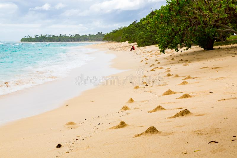Shore of an azure, turquoise, blue lagoon. Heaps of sand near crab hole minks. Waves, swash at empty beautiful sandy beach. Tonga. royalty free stock image