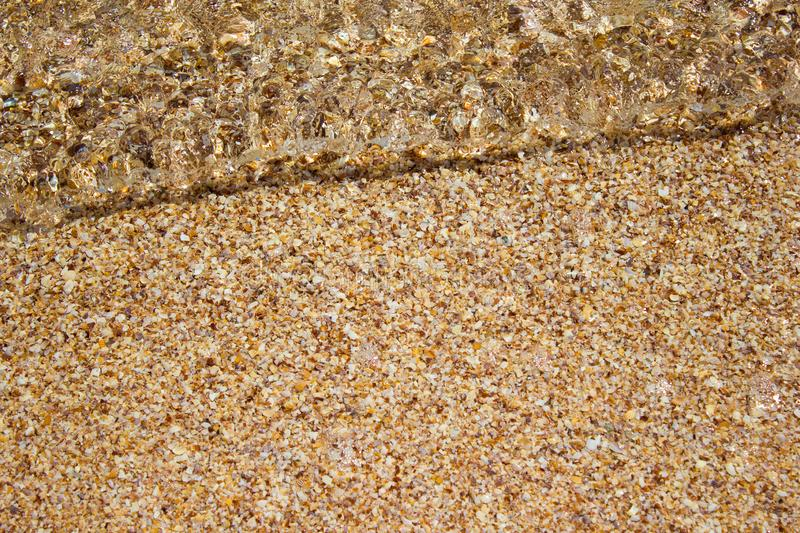 Shore beach water sea wave sand shells, background texture. Shore beach water sea wave sand shells, vacation background texture stock photos