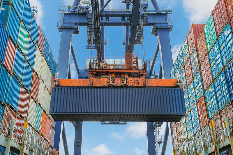 Shore crane lifts container during cargo operation in port stock photography