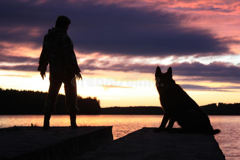 Man and dog watching the sunset stock photography