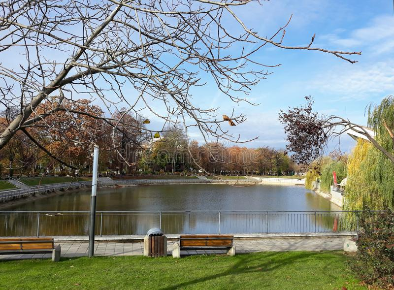 The shore of the lake in Arad city - Romania. In a sunny spring morning stock image