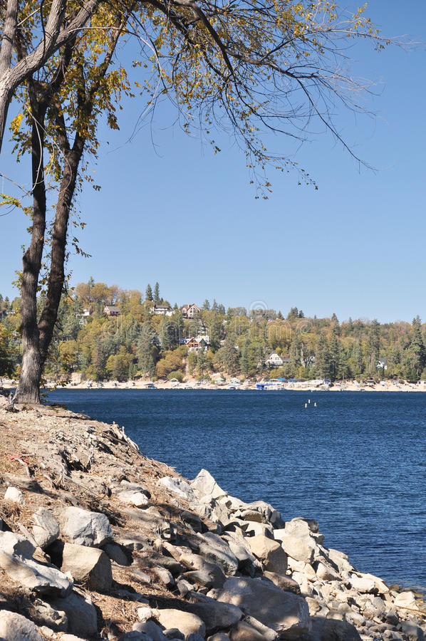 Shore of Lake Arrowhead royalty free stock photo