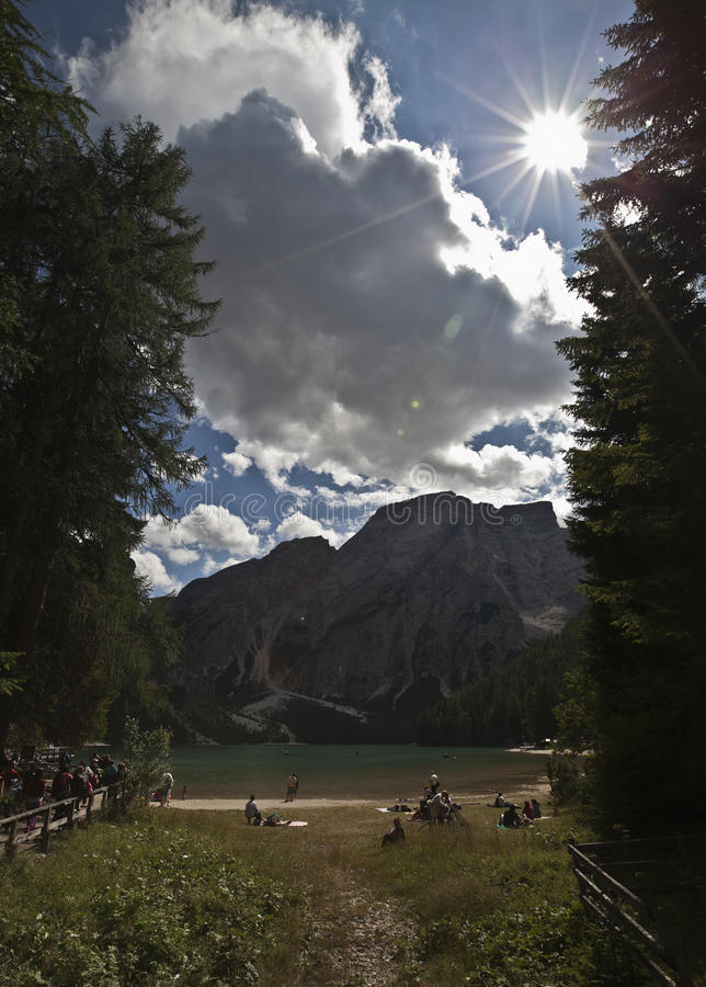 Download The shore of Lake Braies stock photo. Image of forest - 26394030