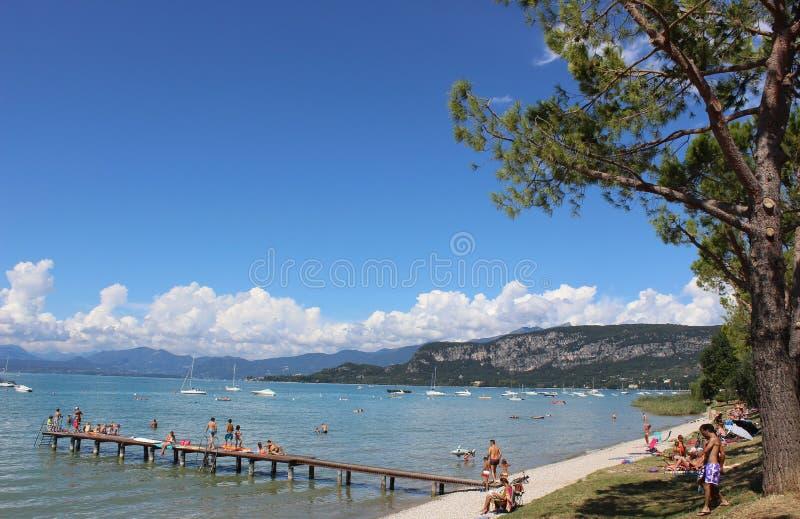 Shore of Lake Garda between Bardolino and Garda. stock image