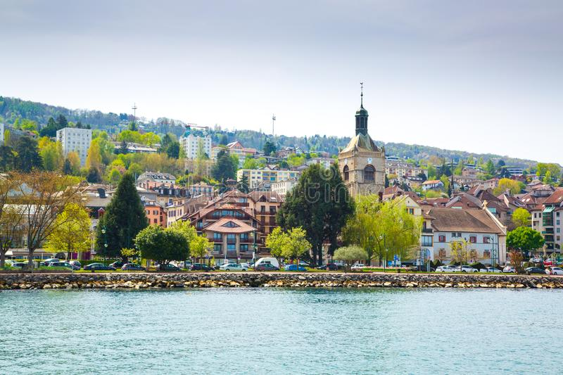 Shore of Lake Geneva in Evian-les-Bains city in France stock photography