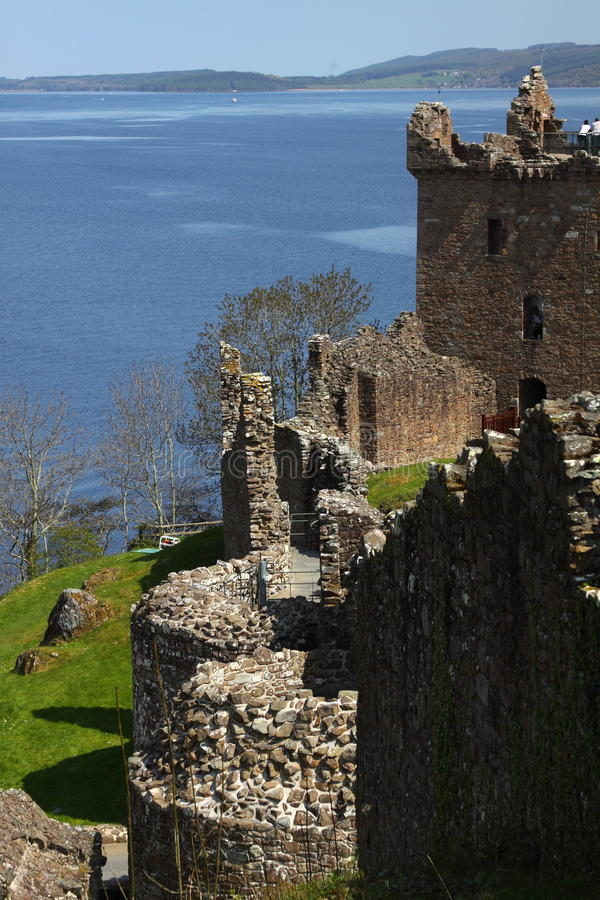 On the Shore of Loch Ness. Urquhart Castle located on the shore of Loch Ness in Scotland stock photography