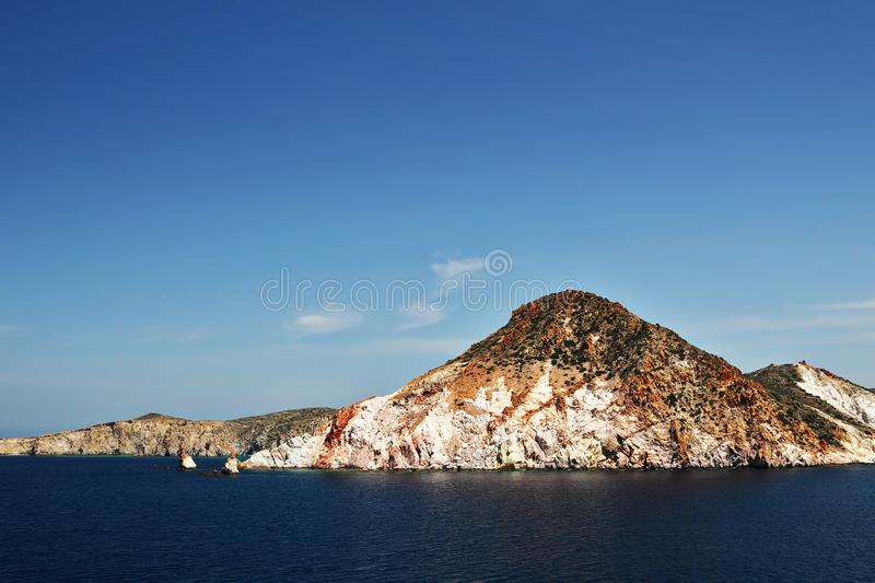 Shore of Milos island in Greece royalty free stock photo