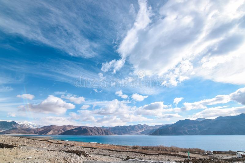 Shore of Pangong Lake in Leh, Ladakh, India. Pangong Tso is one of the major tourist attraction In Leh-Ladakh Region. Its 140 odd kms away from Leh city royalty free stock photography