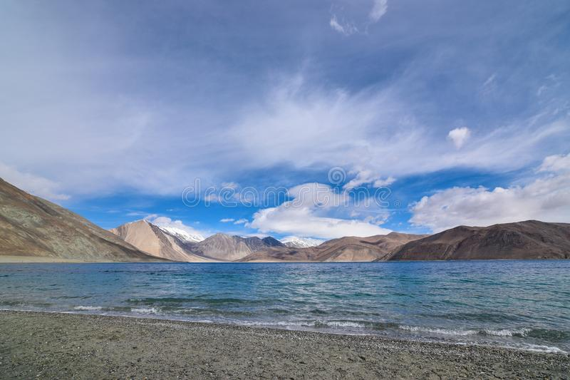 Shore of Pangong Lake in Leh, Ladakh, India. Pangong Tso is one of the major tourist attraction In Leh-Ladakh Region. Its 140 odd kms away from Leh city stock photo