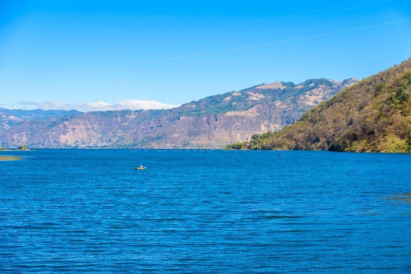 Shore of San Lucas Toliman - village at lake Atitlan, Department of Solola in Guatemala royalty free stock photography