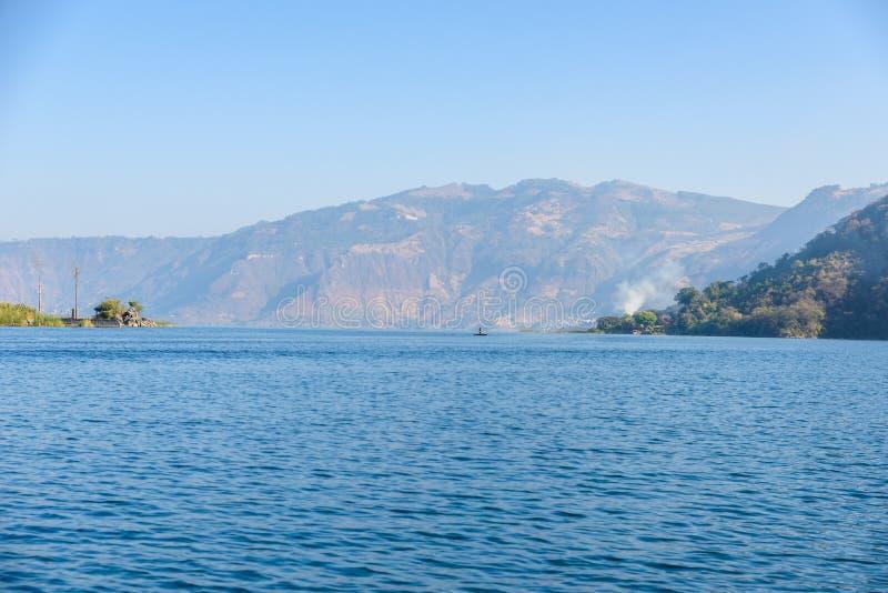 Shore of San Lucas Toliman - village at lake Atitlan, Department of Solola in Guatemala royalty free stock photo