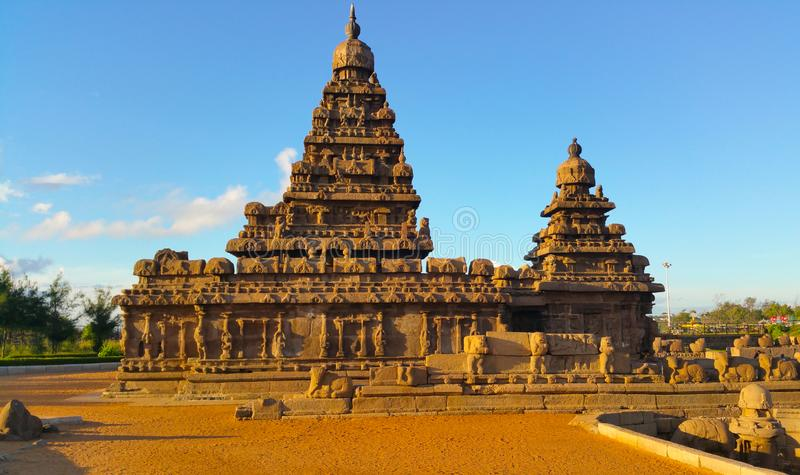 Mahabhalipuram shore temple in India. royalty free stock photography