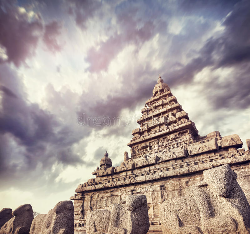 Shore temple with bull statues royalty free stock images