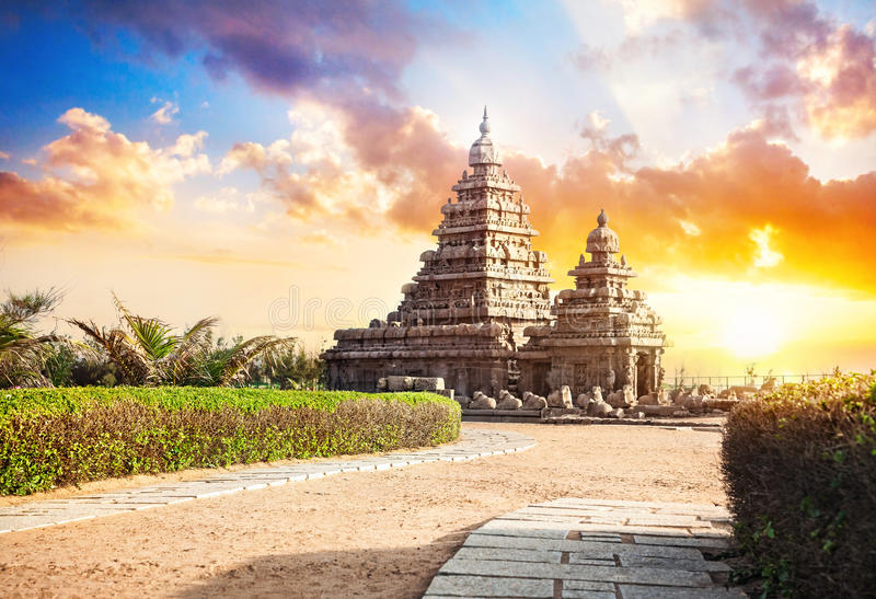 Shore temple in India stock photos
