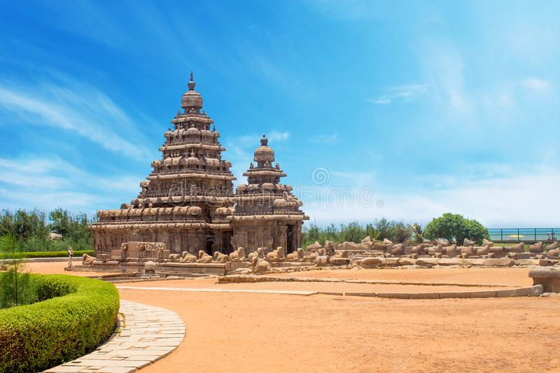 Shore temple at Mahabalipuram, Tamil Nadu, India. With clear clean sky. The shore temple is a UNESCO world heritage site which are famous among tourist in royalty free stock image