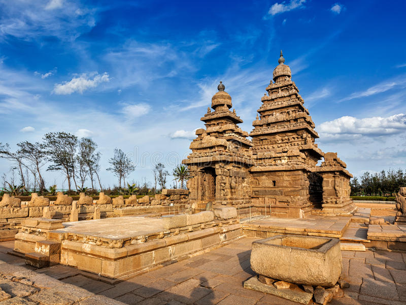 Shore temple - World heritage site in Mahabalipuram, Tamil Nad. Famous Tamil Nadu landmark - Shore temple, world heritage site in Mahabalipuram, Tamil Nadu stock photography