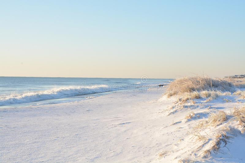 Shore view in the carolinas. A rare snow and ice storm in Kure Beach North Carolina stock images