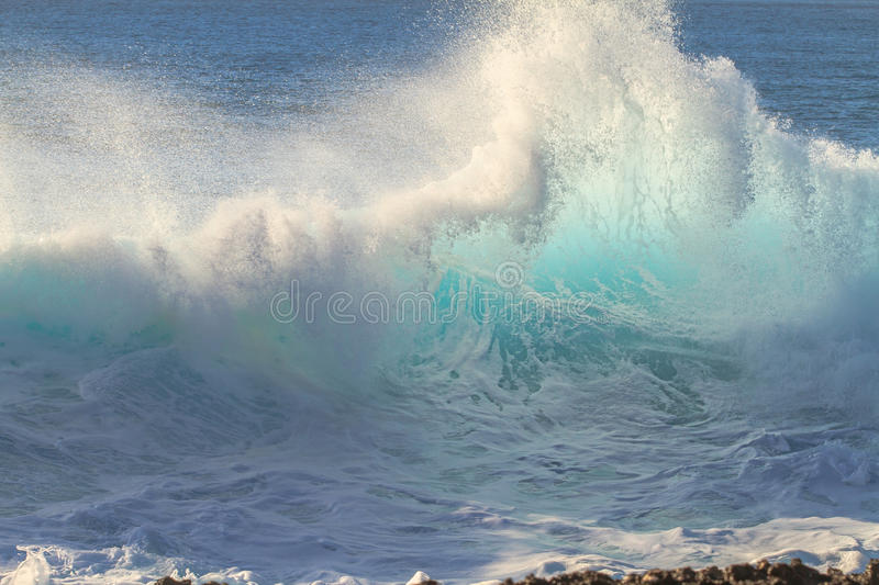 Shorebreak Wave Crest. Beautiful Ocean Background Big Shorebreak Wave for Surfing. Swell for sport activity. Power and Energy Of Nature royalty free stock image