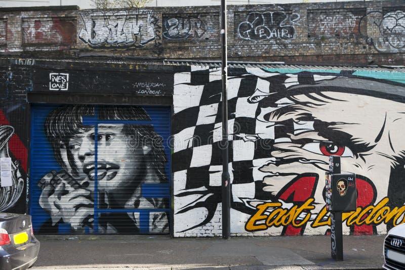 Shoreditch,在伦敦的时髦东边的心脏, 免版税图库摄影