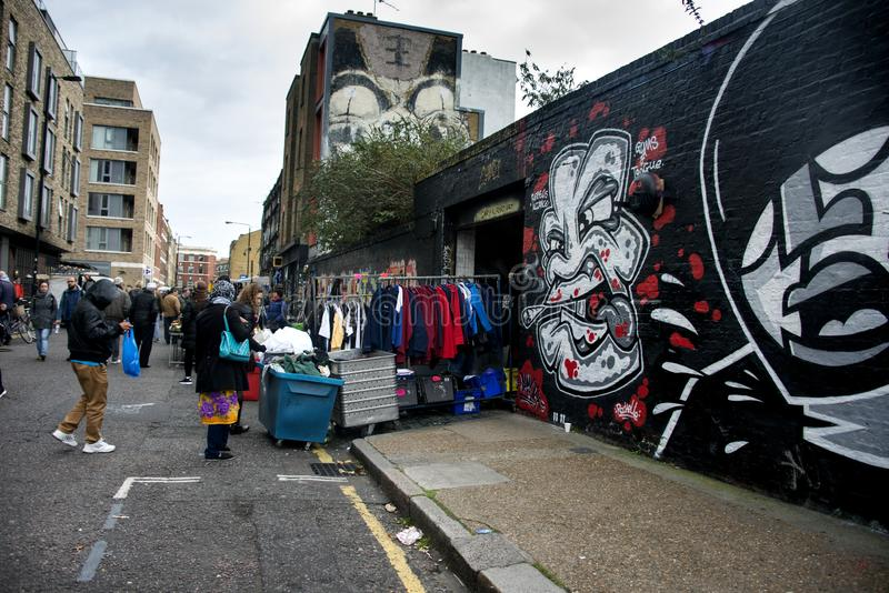 Shoreditch loppmarknad i london royaltyfria foton